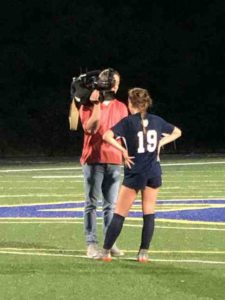 Isabelle Ingle being interviewed by WLOS